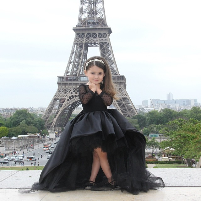 Black High Low Ball Gown Flower Girl Dresses With Long Sleeves Jewel ...