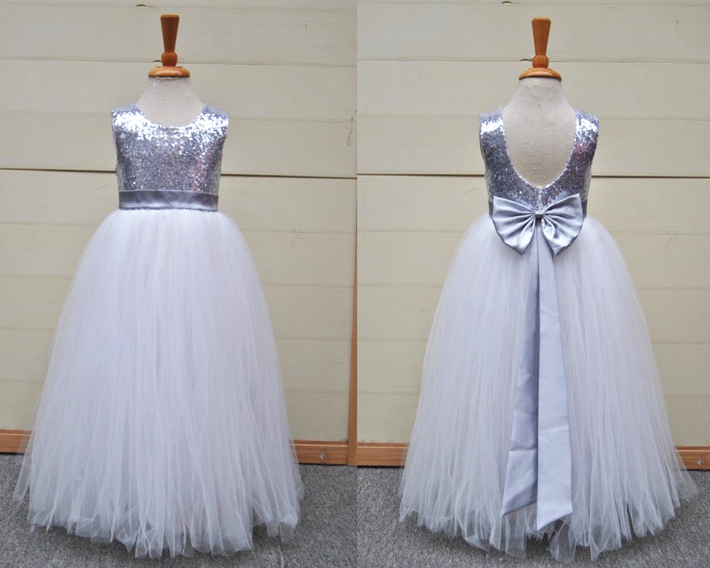 baee8bb1aa0 Silver Grey Sequin Tulle Flower Girl Dress Stunning Girl Party Dress With  Bow V-back