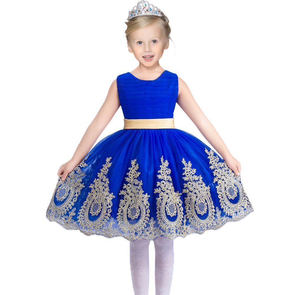 Gold appliques royal blue tulle flower girl dress stunning girl gold appliques royal blue tulle flower girl dress stunning girl party dress with sash and bow v back dress custom made dress izmirmasajfo