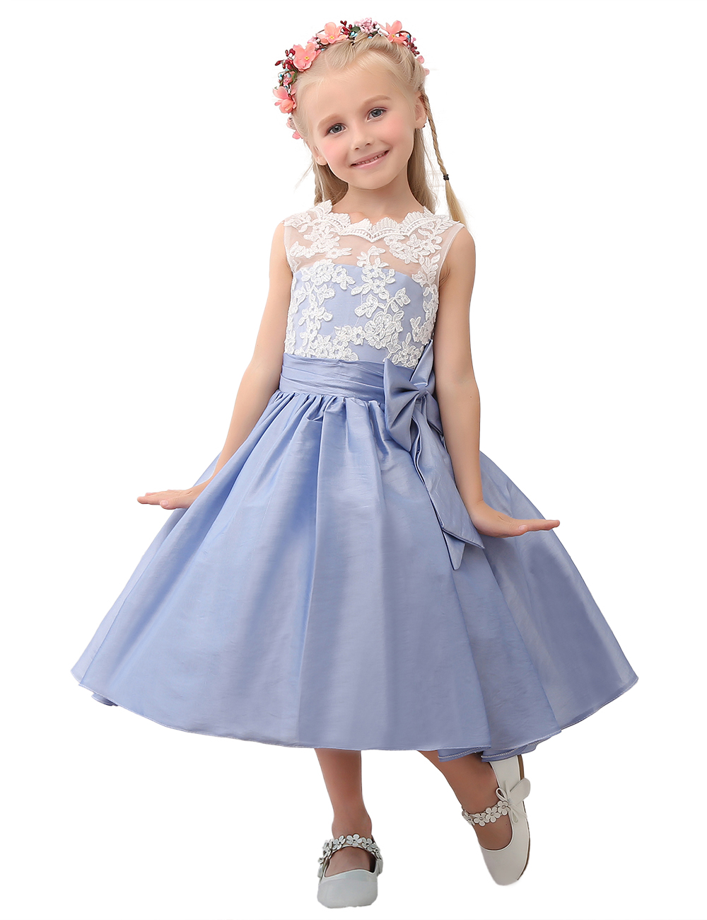 Lace taffeta flower girl dress blue taffeta princess dress cutie lace taffeta flower girl dress blue taffeta princess dress cutie girl party dress with sash and izmirmasajfo